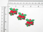 "3 x Seasonal Bells with Holly Iron On Patch Applique  Fully Embroidered Measures 1 1/4"" across x 1 1/8"" high (32mm x 29mm) approx"