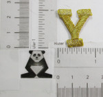 "Iron On Patch Applique - 1"" Metallic Gold Letter Y"