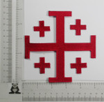"Iron On Patch Applique - Jerusalem 5 Part Cross 5""  Red"