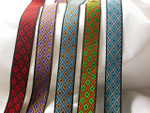 "Jacquard Ribbon 3/4"" Adinkra Diamonds*Colors*"