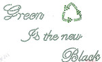 "Rhinestud Applique - ""Green is the New Black"""