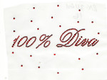 "Rhinestud Applique - ""100% Diva""."