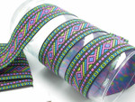 "Jacquard Ribbon 1 1/2"" (38mm) Aztec Pastels Per Yard"