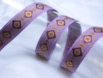 "Jacquard Ribbon 1 "" (25mm) Purple Diamond Floral priced Per Yard"