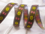"Jacquard Ribbon 1"" Brown yellow Pink Green Floral Priced Per Yard"