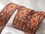 "Jacquard Ribbon 1 9/16"" (40mm) Orange Black & Tan Remnant Lengths"