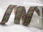 "Jacquard Ribbon 1"" Black & Multi Plume Priced Per Yard"