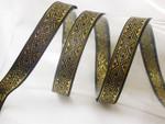 "Jacquard Ribbon 5/8"" (15.8mm) Black & Metallic Gold Diamonds Priced Per Yard"
