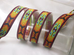 "Jacquard Ribbon 3/4 "" (20mm) Bright Aztec Pattern priced Per Yard"