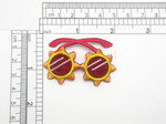 "Funky Sun Glasses Shades Iron On Patch Applique  Embroidered on Wine Acetate Backing Measures 2 1/16"" across x 1 5/16"" high approx"