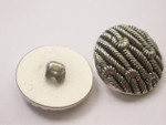 "Button 1 1/8"" (29mm) Silver Rope Effect  - Per Piece"