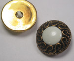 "Button 1 1/8"" (29mm) Aged Gold Fancy with White  Center 1 1/8"" - Per Piece"