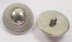 "Button 1"" (25mm)  Silver Fancy Rope Domed  - Per Piece"