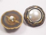 "Button 1"" (25mm)  Fancy Faux Bone Pearly Dome  - Per Piece"