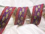 """Jacquard Ribbon 1 1/2"""" (38.mm) Purple with Red Band Floral Per Yard"""