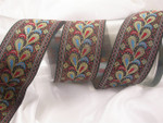 "Jacquard Ribbon 2"" (50mm) Red Blue Tan Plumes on Black Priced Per Yard"