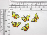 "5 x Mini Butterfly Yellow 5/8"" x 7/8"" Iron On Patch Applique    Fully Embroidered with rayon Threads    Measures 5/8"" HIGH X 7/8"" WIDE"""