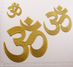 Iron On Patch Applique - Hindu OM Symbol Metallic Gold  *Sizes*