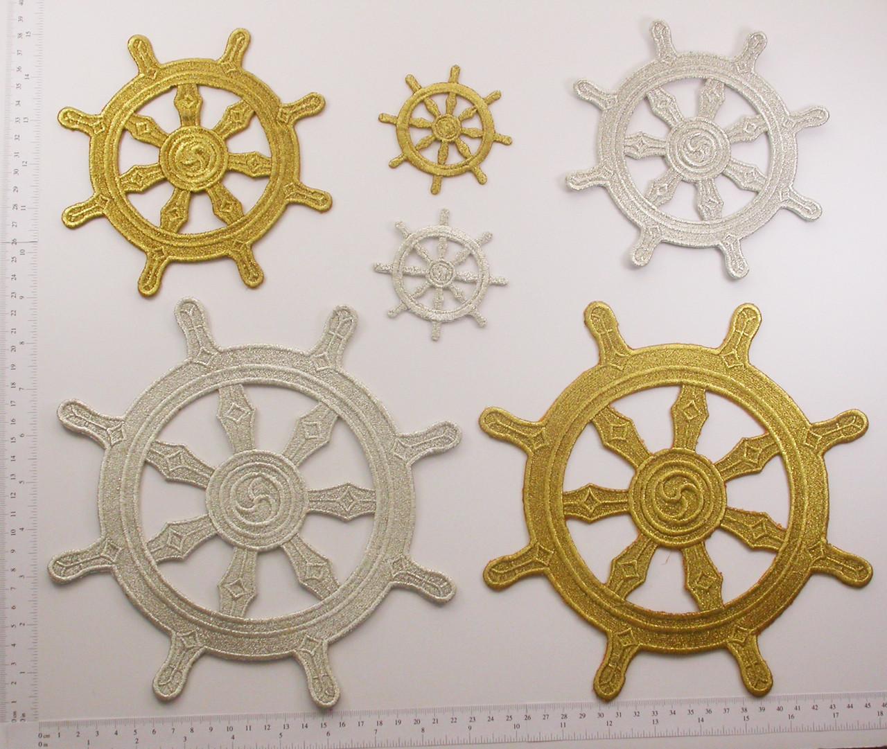Buddhist Dharma Wheel Symbol Iron On Patch Applique