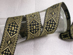 "Jacquard Ribbon 1 3/4"" (44MM) Metallic Gold On Black Priced per yard"