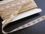 "Raschel Beading Lace 7/8"" (22mm) White & Metallic Gold 50 Yards"