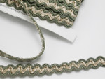 """Braid 1/2"""" (12.5mm) Sage & Ivory Double Whipstitch Wrights 6 Yards"""