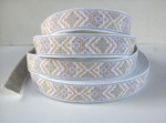 "Jacquard Ribbon 1 1/8"" White Tapestry Style 36 Yard Roll"