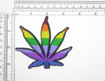 """Marijuana Pot Leaf Rainbow high Iron On Patch Applique   3 1/8"""" high x 3 3/8"""" wide (79mm x 86mm)  Fully Embroidered in 7 rainbow colors"""