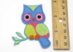 "Iron On Patch Applique - Colorful Owl on Branch 2 7/8"" high"