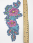 "Iron On Patch Applique - Flower Spray on Denim 9 3/8"" x 3 7/8"" with Beads"