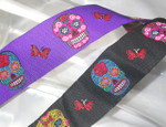 "Jacquard Ribbon 1 1/2"" 38mm Sugar Skulls *Colors* per yard."