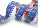 "Stars & Stripes Jacquard Ribbon 1 1/2"" (38mm) Priced Per yard"