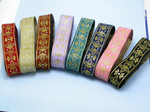 "Jacquard Ribbon 1 1/2"" (38mm) Fleur De Lys Royale *Colors* Priced Per Yard"