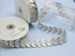 "Embroidered Border Laurel Leaves 38mm 1 1/2"" Silver 9 meter roll Iron on"