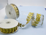 "Embroidered Border Laurel Leaves 38mm 1 1/2"" Gold 9 meter roll Iron on"