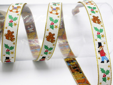 "Yuletide Christmas 3/4"" (20mm) Jacquard Ribbon"