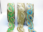 """Fancy Beaded Saree Floral Border Trim Embroidered  2"""" (50mm)   Per mtr"""