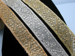 "Beaded Sari Saree Border Floral   2"" (50mm) Per Meter Gold Silver or Copper"