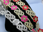 "Fancy Beaded Saree Sari Floral Border Embroidered  2 1/8"" (54mm)   Per mtr"