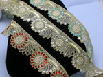 "Mirrored Beaded Costume Border Trim Embroidered  2 3/8"" (60mm)   Per mtr"
