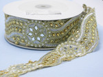 "Beaded Sari Saree Border Gold & Silver Embroidered with Mirror detail  2 1/4"" (57mm) Per Meter"