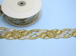 "Beaded Sari Saree Border Gold & Silver Embroidered  1 3/4"" (45mm) Per Meter"