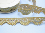 "Embroidered Saree Border Metallic Gold & Silver Scallop  35mm 1 3/8"" wide Priced Per Yard  Iron On"