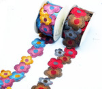 "Embroidered Saree Border Jumbo Daisy Flowers 83mm 3 1/4 wide"" Priced Per Yard  Iron On"