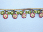 "Iron On Border Preppy Flowers 35mm 1 3/8"" wide Priced Per Yard  Iron On"
