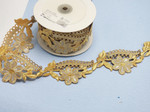 "Embroidered Saree Border Metallic Gold & Silver Floral 76mm 3"" wide Priced Per Yard Iron On"