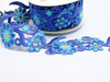 "Embroidered Saree Border Blue Daisy Flowers 70mm 2 3/4 wide"" Priced Per Meter  Iron On"