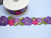 "Embroidered Saree Border Primrose Flowers 50mm 2"" wide Priced Per Yard USA STOCK Iron On"