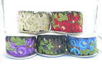 """Embroidered Saree Border Flowers & Bows 76mm 3"""" wide Priced Per Yard  Iron On"""