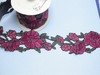 "Embroidered Saree Border Rose Flower Floral 96mm 3 1/2 wide"" Priced Per Meter Iron On"